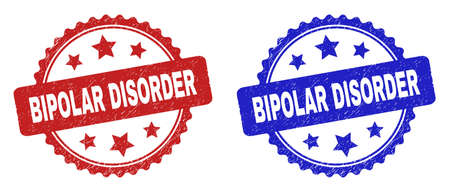 Rosette BIPOLAR DISORDER watermarks. Flat vector scratched watermarks with BIPOLAR DISORDER text inside rosette with stars, in blue and red color versions. Rubber imitations with unclean style.