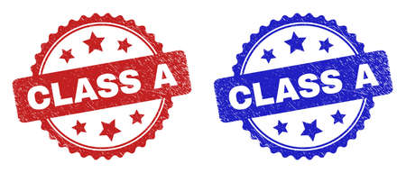 Rosette CLASS A seal stamps. Flat vector distress seal stamps with CLASS A caption inside rosette with stars, in blue and red color versions. Rubber imitations with grunge surface. 일러스트