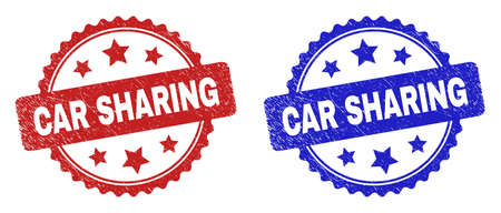 Rosette CAR SHARING watermarks. Flat vector distress watermarks with CAR SHARING caption inside rosette shape with stars, in blue and red color variants. Watermarks with distress surface.