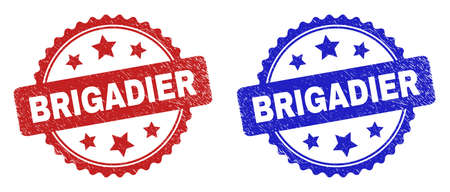 Rosette BRIGADIER seal stamps. Flat vector distress seal stamps with BRIGADIER phrase inside rosette shape with stars, in blue and red color variants. Watermarks with distress style.
