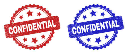 Rosette CONFIDENTIAL seal stamps. Flat vector distress seal stamps with CONFIDENTIAL phrase inside rosette shape with stars, in blue and red color variants. Imprints with grunged surface. 일러스트