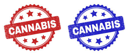 Rosette CANNABIS seal stamps. Flat vector scratched seal stamps with CANNABIS title inside rosette with stars, in blue and red color variants. Imprints with corroded surface. 일러스트