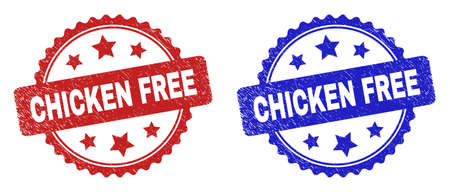 Rosette CHICKEN FREE seal stamps. Flat vector scratched seal stamps with CHICKEN FREE phrase inside rosette shape with stars, in blue and red color variants. Watermarks with unclean surface.