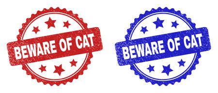 Rosette BEWARE OF CAT seal stamps. Flat vector textured seal stamps with BEWARE OF CAT title inside rosette with stars, in blue and red color versions. Imprints with grunge texture.