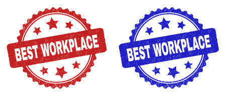Rosette BEST WORKPLACE seal stamps. Flat vector distress stamps with BEST WORKPLACE phrase inside rosette with stars, in blue and red color versions. Rubber imitations with distress texture.