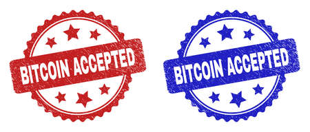 Rosette BITCOIN ACCEPTED seal stamps. Flat vector scratched watermarks with BITCOIN ACCEPTED text inside rosette with stars, in blue and red color variants. Watermarks with scratched texture. 일러스트