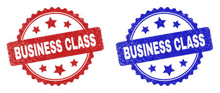 Rosette BUSINESS CLASS seal stamps. Flat vector textured seal stamps with BUSINESS CLASS caption inside rosette with stars, in blue and red color variants. Imprints with unclean texture.