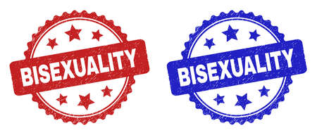 Rosette BISEXUALITY watermarks. Flat vector grunge watermarks with BISEXUALITY phrase inside rosette with stars, in blue and red color variants. Watermarks with scratched style.
