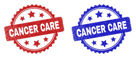 Rosette CANCER CARE watermarks. Flat vector distress watermarks with CANCER CARE text inside rosette shape with stars, in blue and red color versions. Watermarks with distress style.
