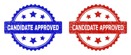 Rosette CANDIDATE APPROVED stamps. Flat vector scratched stamps with CANDIDATE APPROVED title inside rosette shape with stars, in blue and red color versions. Rubber imitations with scratched style.