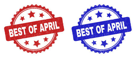 Rosette BEST OF APRIL seal stamps. Flat vector textured watermarks with BEST OF APRIL phrase inside rosette with stars, in blue and red color versions. Watermarks with corroded texture. 일러스트