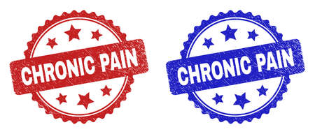 Rosette CHRONIC PAIN seal stamps. Flat vector scratched seal stamps with CHRONIC PAIN title inside rosette with stars, in blue and red color versions. Imprints with grunge surface.
