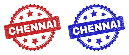 Rosette CHENNAI seal stamps. Flat vector distress seal stamps with CHENNAI phrase inside rosette shape with stars, in blue and red color versions. Watermarks with grunged surface.
