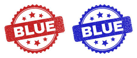 Rosette BLUE seal stamps. Flat vector distress stamps with BLUE caption inside rosette shape with stars, in blue and red color variants. Watermarks with grunged surface.