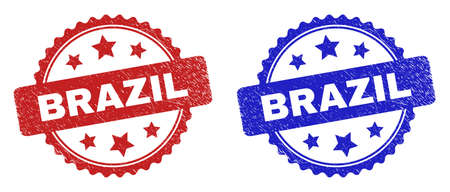 Rosette BRAZIL stamps. Flat vector textured seal stamps with BRAZIL message inside rosette with stars, in blue and red color versions. Imprints with corroded style.