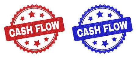 Rosette CASH FLOW seal stamps. Flat vector textured seal stamps with CASH FLOW message inside rosette shape with stars, in blue and red color variants. Watermarks with corroded surface.