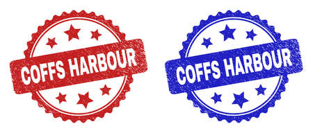 Rosette COFFS HARBOUR stamps. Flat vector grunge watermarks with COFFS HARBOUR caption inside rosette shape with stars, in blue and red color versions. Watermarks with grunge style. 일러스트