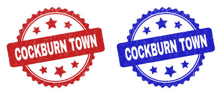 Rosette COCKBURN TOWN watermarks. Flat vector grunge stamps with COCKBURN TOWN message inside rosette with stars, in blue and red color versions. Watermarks with unclean texture.