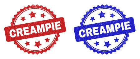 Rosette CREAMPIE seal stamps. Flat vector distress seal stamps with CREAMPIE title inside rosette shape with stars, in blue and red color variants. Rubber imitations with grunged surface.
