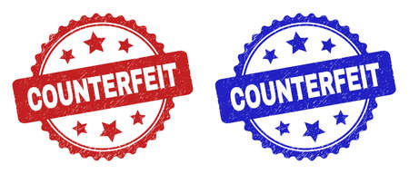 Rosette COUNTERFEIT seal stamps. Flat vector distress seal stamps with COUNTERFEIT phrase inside rosette with stars, in blue and red color variants. Watermarks with corroded texture.