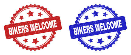 Rosette BIKERS WELCOME seal stamps. Flat vector distress seal stamps with BIKERS WELCOME message inside rosette with stars, in blue and red color versions. Imprints with grunged surface.