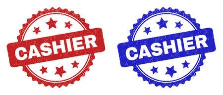 Rosette CASHIER seal stamps. Flat vector distress seal stamps with CASHIER text inside rosette shape with stars, in blue and red color versions. Imprints with grunged surface.