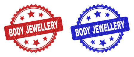 Rosette BODY JEWELLERY stamps. Flat vector scratched stamps with BODY JEWELLERY message inside rosette with stars, in blue and red color versions. Watermarks with scratched style. 일러스트