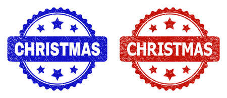 Rosette CHRISTMAS seals. Flat vector grunge watermarks with CHRISTMAS title inside rosette shape with stars, in blue and red color versions. Watermarks with grunged surface. 일러스트