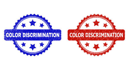 Rosette COLOR DISCRIMINATION seal stamps. Flat vector scratched seal stamps with COLOR DISCRIMINATION text inside rosette shape with stars, in blue and red color variants. Imprints with unclean style.