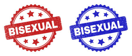 Rosette BISEXUAL stamps. Flat vector distress seal stamps with BISEXUAL phrase inside rosette shape with stars, in blue and red color versions. Watermarks with corroded surface.
