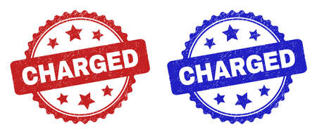 Rosette CHARGED seals. Flat vector grunge seals with CHARGED phrase inside rosette shape with stars, in blue and red color versions. Watermarks with unclean surface.