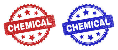 Rosette CHEMICAL seal stamps. Flat vector grunge seal stamps with CHEMICAL caption inside rosette with stars, in blue and red color versions. Watermarks with grunged style. 일러스트