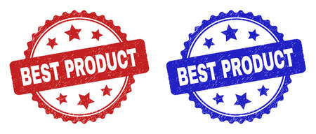 Rosette BEST PRODUCT seal stamps. Flat vector scratched seal stamps with BEST PRODUCT title inside rosette with stars, in blue and red color variants. Imprints with unclean texture.