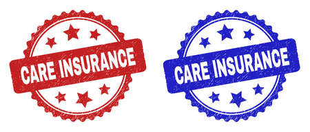 Rosette CARE INSURANCE seals. Flat vector scratched seals with CARE INSURANCE caption inside rosette with stars, in blue and red color variants. Rubber imitations with corroded style.