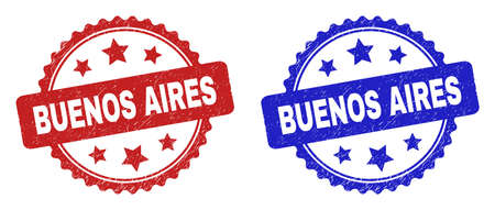 Rosette BUENOS AIRES seal stamps. Flat vector textured seal stamps with BUENOS AIRES caption inside rosette shape with stars, in blue and red color variants. Imprints with scratched style.