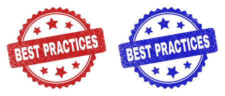 Rosette BEST PRACTICES seal stamps. Flat vector grunge seal stamps with BEST PRACTICES phrase inside rosette with stars, in blue and red color variants. Watermarks with grunge surface. 일러스트