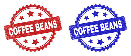 Rosette COFFEE BEANS seal stamps. Flat vector distress stamps with COFFEE BEANS caption inside rosette shape with stars, in blue and red color versions. Imprints with distress surface.
