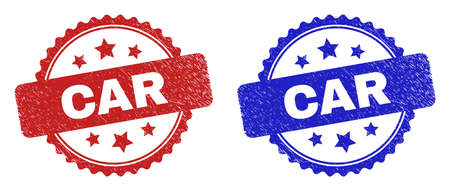 Rosette CAR watermarks. Flat vector grunge watermarks with CAR phrase inside rosette shape with stars, in blue and red color versions. Rubber imitations with grunge surface. 일러스트