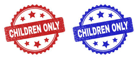 Rosette CHILDREN ONLY watermarks. Flat vector grunge watermarks with CHILDREN ONLY phrase inside rosette shape with stars, in blue and red color versions. Rubber imitations with grunged surface.