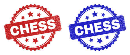 Rosette CHESS seals. Flat vector textured seals with CHESS text inside rosette shape with stars, in blue and red color variants. Rubber imitations with unclean surface.