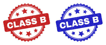 Rosette CLASS B seal stamps. Flat vector distress seal stamps with CLASS B title inside rosette shape with stars, in blue and red color versions. Watermarks with unclean style.