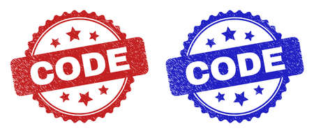 Rosette CODE seal stamps. Flat vector distress seal stamps with CODE caption inside rosette shape with stars, in blue and red color versions. Imprints with grunge style. 일러스트