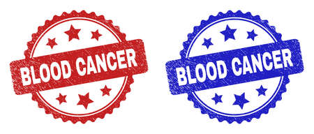 Rosette BLOOD CANCER seals. Flat vector textured watermarks with BLOOD CANCER title inside rosette shape with stars, in blue and red color versions. Watermarks with scratched texture.