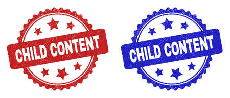 Rosette CHILD CONTENT seals. Flat vector grunge seals with CHILD CONTENT title inside rosette shape with stars, in blue and red color variants. Imprints with grunge style. 矢量图像