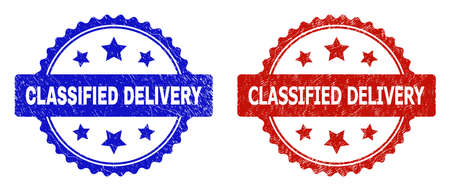 Rosette CLASSIFIED DELIVERY seals. Flat vector distress seals with CLASSIFIED DELIVERY message inside rosette shape with stars, in blue and red color variants. Rubber imitations with grunged style.