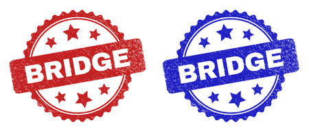 Rosette BRIDGE watermarks. Flat vector grunge seals with BRIDGE caption inside rosette shape with stars, in blue and red color versions. Watermarks with grunge texture.