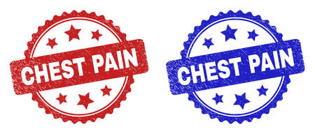 Rosette CHEST PAIN stamps. Flat vector distress stamps with CHEST PAIN title inside rosette shape with stars, in blue and red color versions. Watermarks with distress surface.