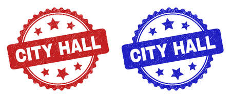 Rosette CITY HALL watermarks. Flat vector grunge watermarks with CITY HALL text inside rosette shape with stars, in blue and red color versions. Watermarks with unclean texture.