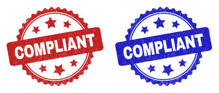 Rosette COMPLIANT seal stamps. Flat vector scratched seal stamps with COMPLIANT message inside rosette shape with stars, in blue and red color variants. Imprints with scratched style.