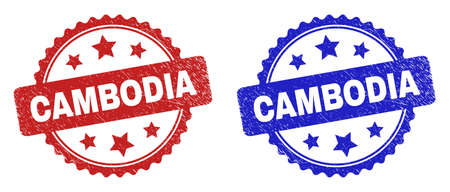 Rosette CAMBODIA seals. Flat vector distress seals with CAMBODIA text inside rosette with stars, in blue and red color variants. Watermarks with corroded style.